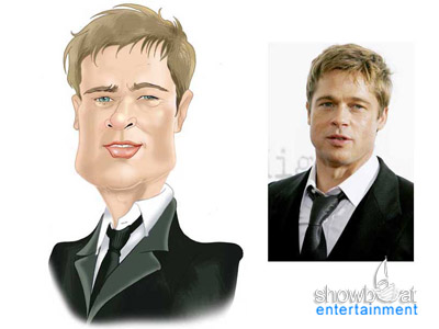 brad pitt caricature. Professional Caricature from