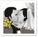 Wedding Kiss : Wedding caricature