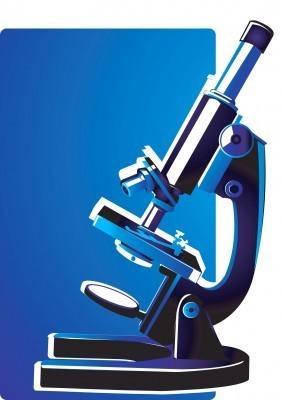 Person looking through microscope cartoon